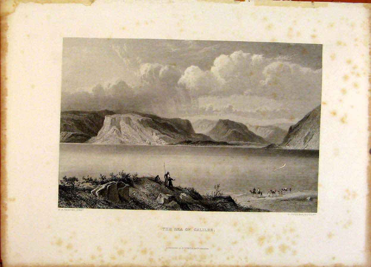 Print The Holy Bible The Sea Galilee Steel Engraving 319371 Old Original