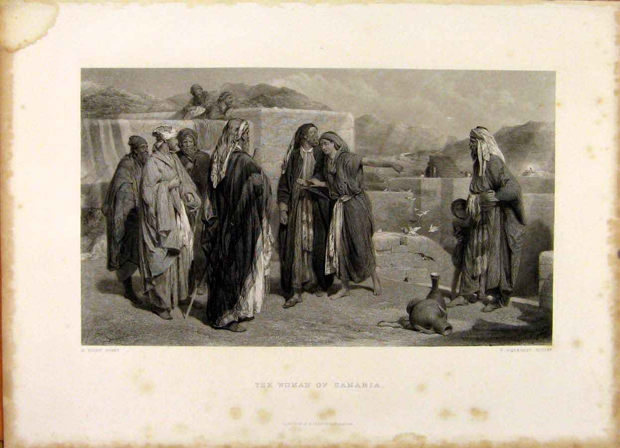 Print The Holy Bible The Woman Samaria Steel Engraving 369371 Old Original