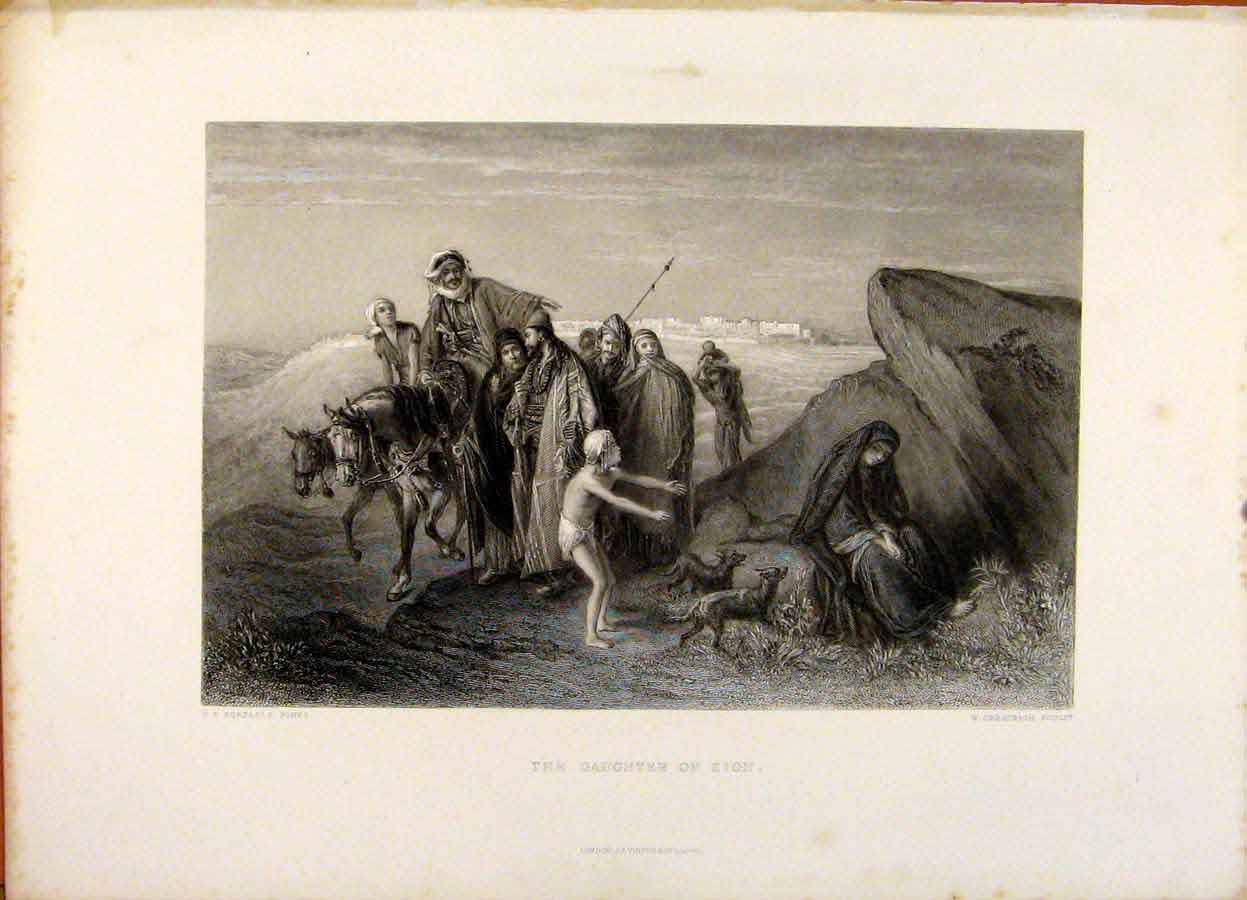 Print The Holy Bible The Daughter Zion Steel Engraving 449371 Old Original