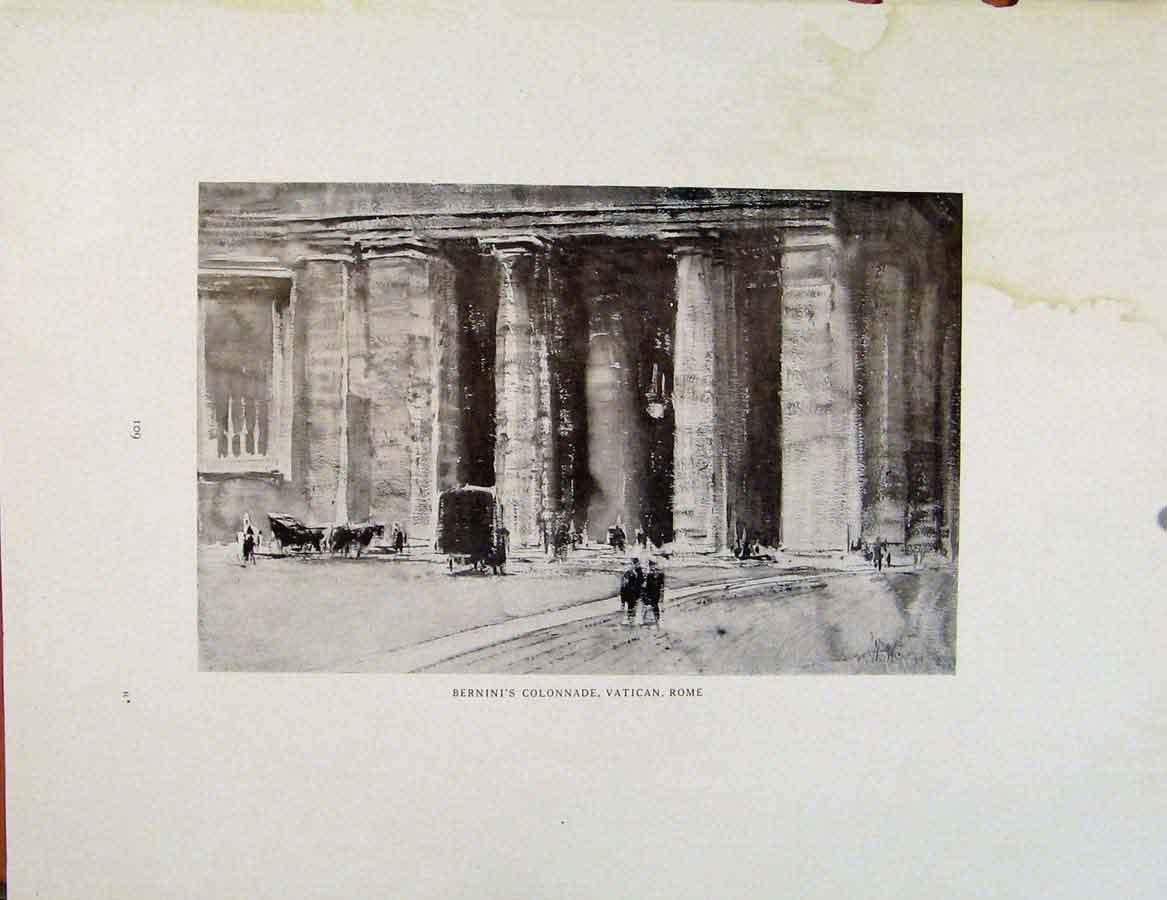 Print Architectural Etchings Berninis Colonnade Vatican Rome 179381 Old Original