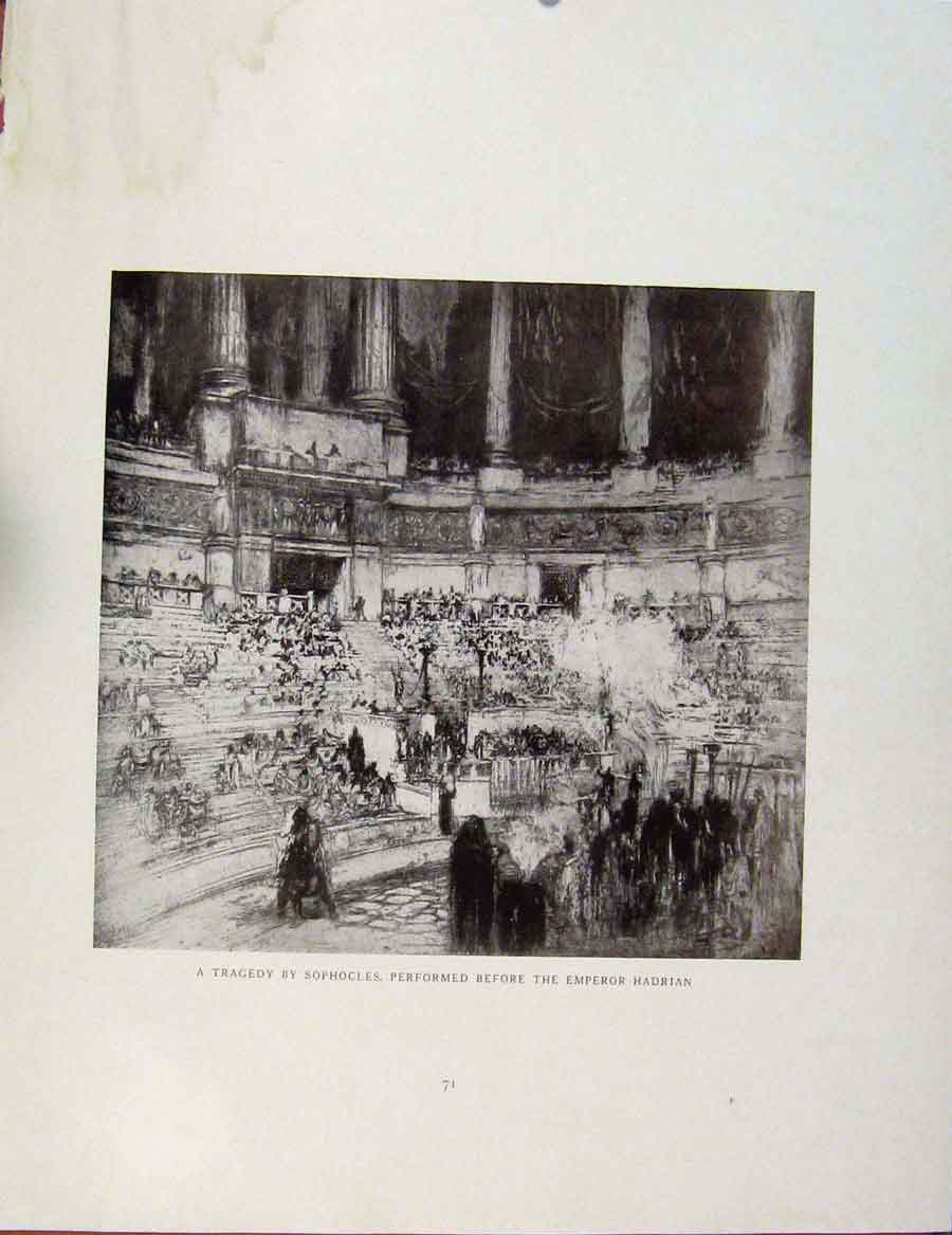 Print Architectural Etchings Tragedy Sophocles Emperor Hardri 249381 Old Original