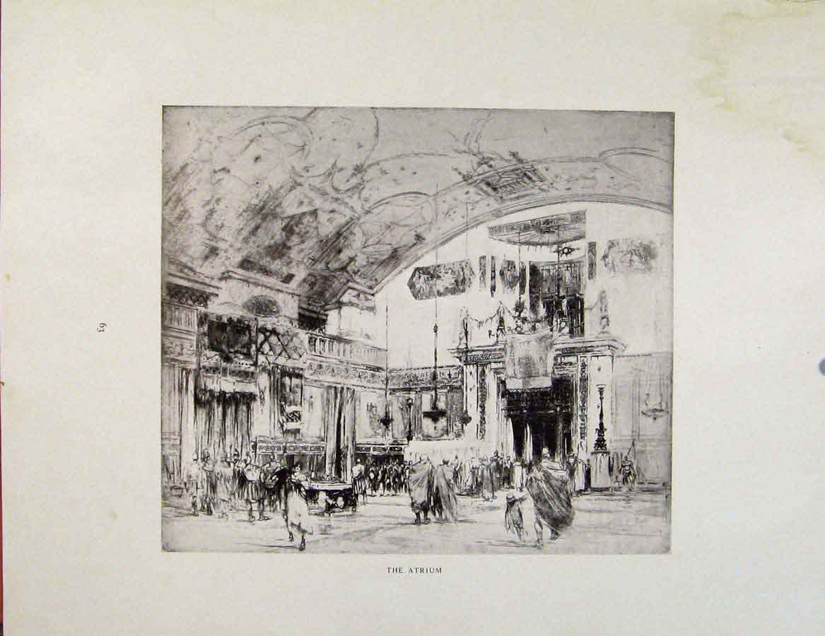 Print Architectural Etchings At The House A Patrician 279381 Old Original