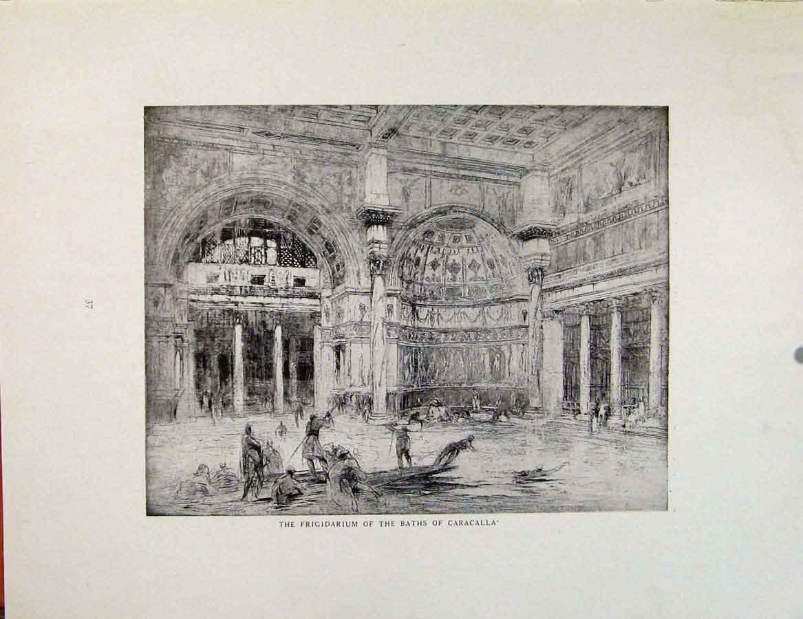 Print Architectural Etchings Frigidarium Baths Caracalla 339381 Old Original
