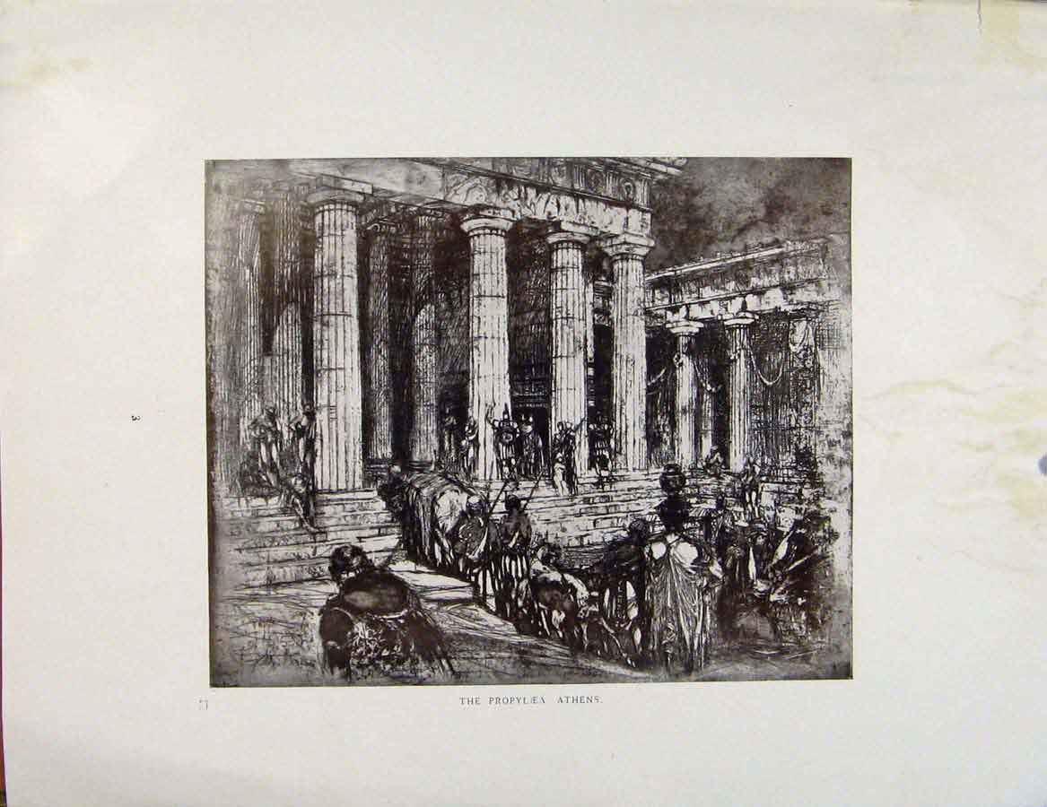 Print Architectural Etchings The Propylea Athens 359381 Old Original