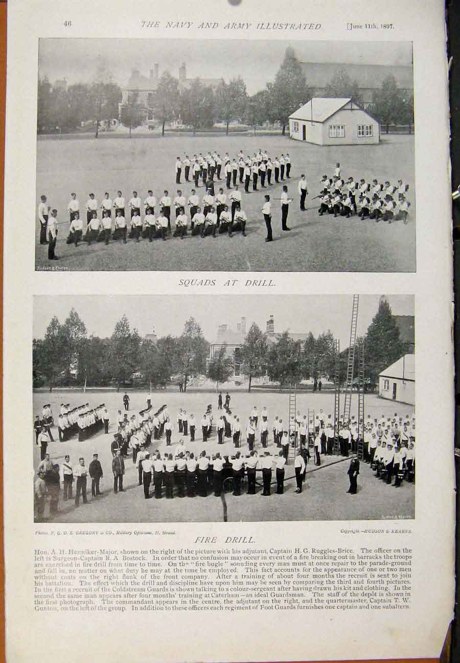 [Print Navy & Army After Four Months Squads At Drill Fire Dril 459391 Old Original]