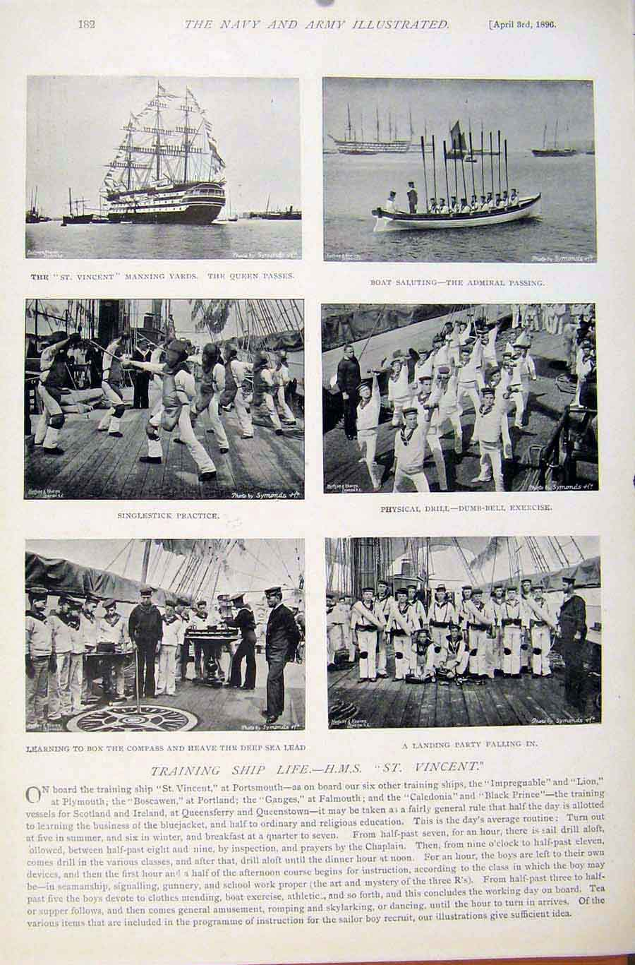 [Print Navy & Army Company Blake Group Photo Training Ship 819401 Old Original]