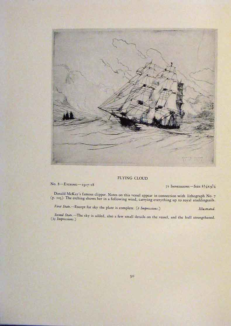 Print American Ships Light Airs Crosstrees Flying Cloud 969431 Old Original