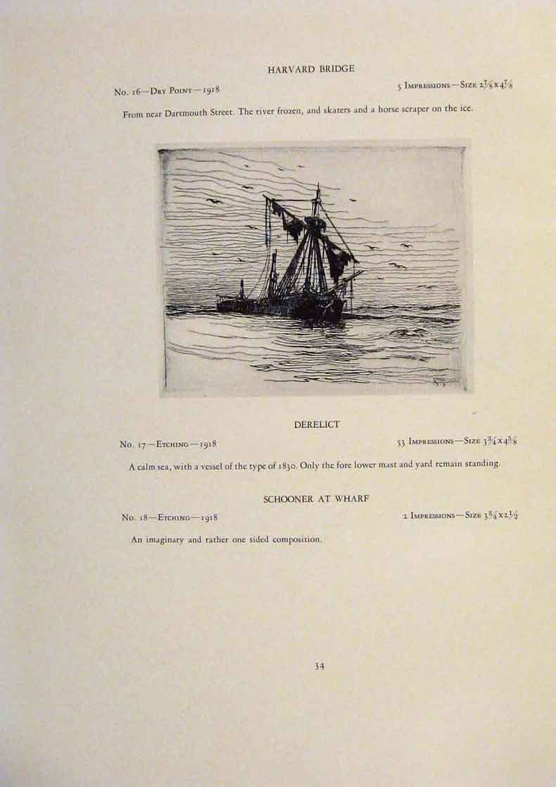 Print American Ships Lagoda Three Masted Schooner Anchor 979431 Old Original