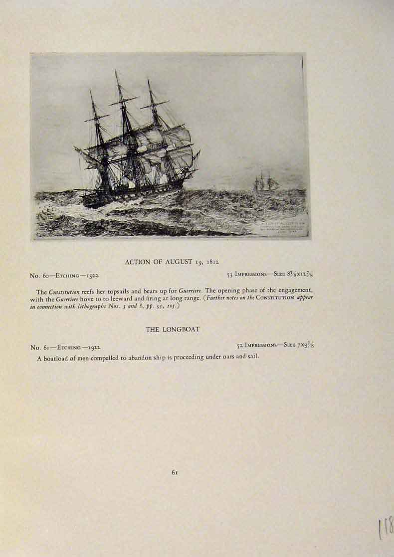 Print American Ships Action August Longboat Etching 989431 Old Original
