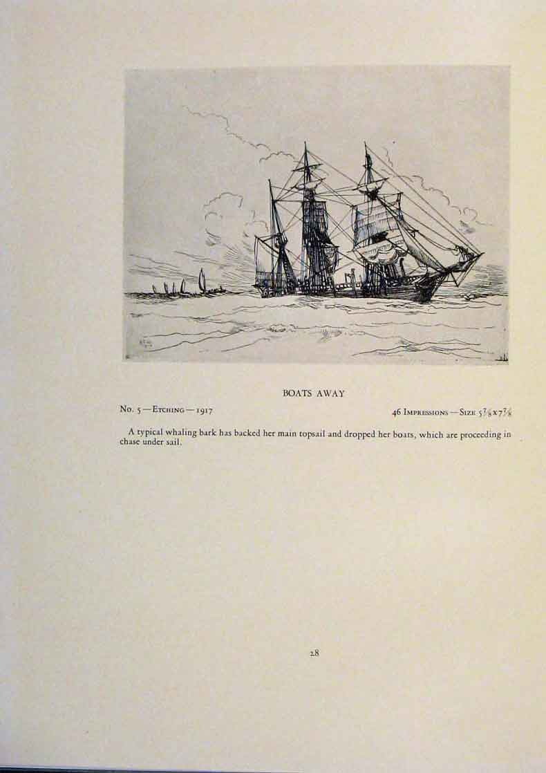 Print American Ships The Prize Boats Away Limited Edition 039431 Old Original