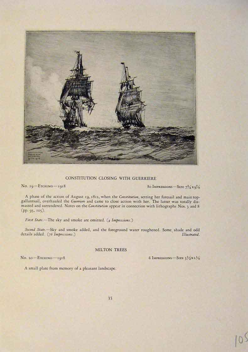 Print American Ships Consitiution Closing Guerriere Milton 059431 Old Original