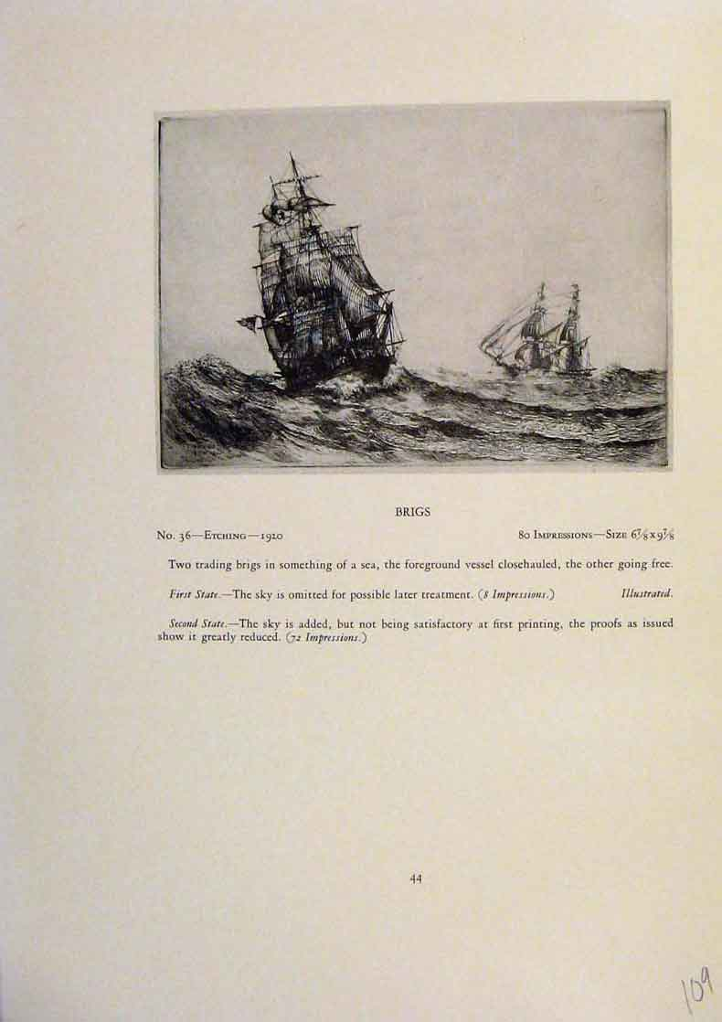 Print American Ships Brigs Limited Edition Etching 099431 Old Original
