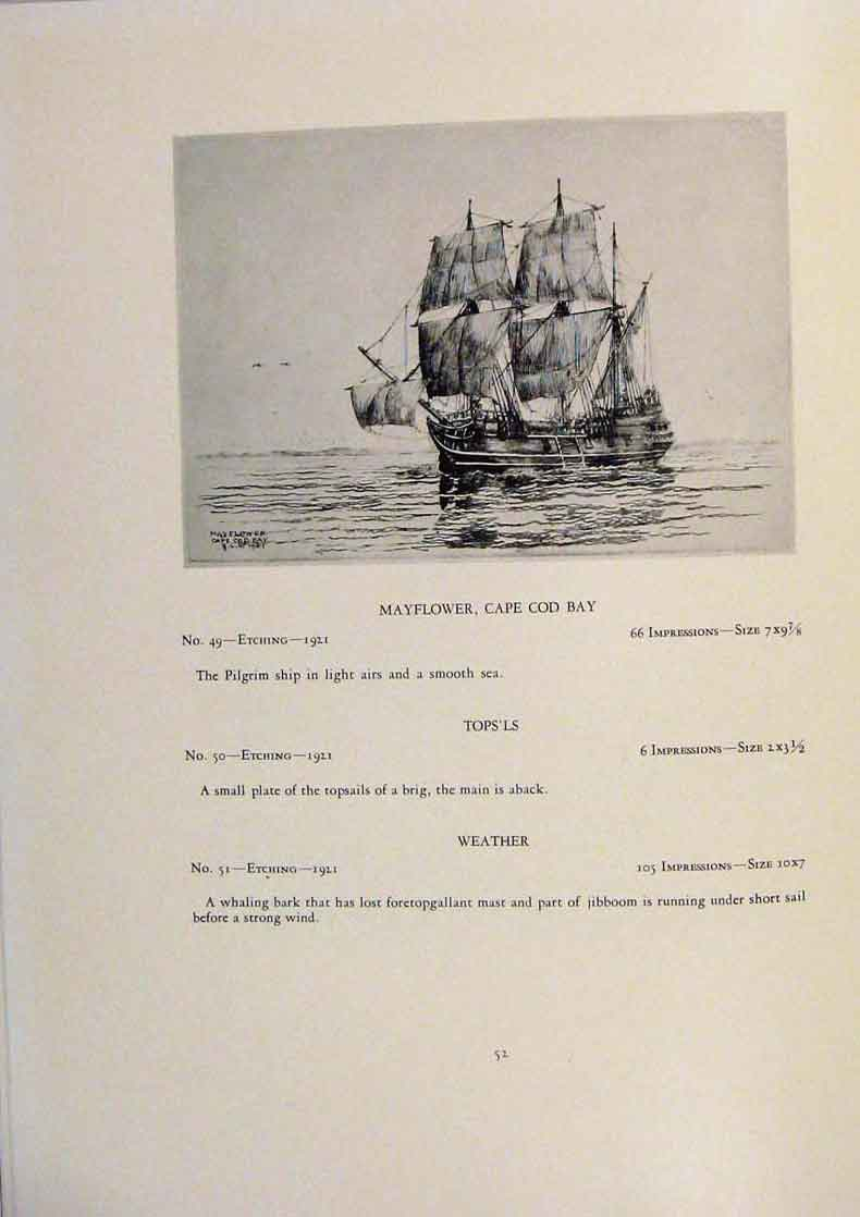 Print American Ships The Landbreeze Limited Edition Etching 139431 Old Original