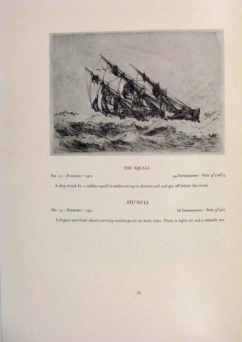 Print American Ships Weather Etching Limited Edition Etching 149431 Old Original
