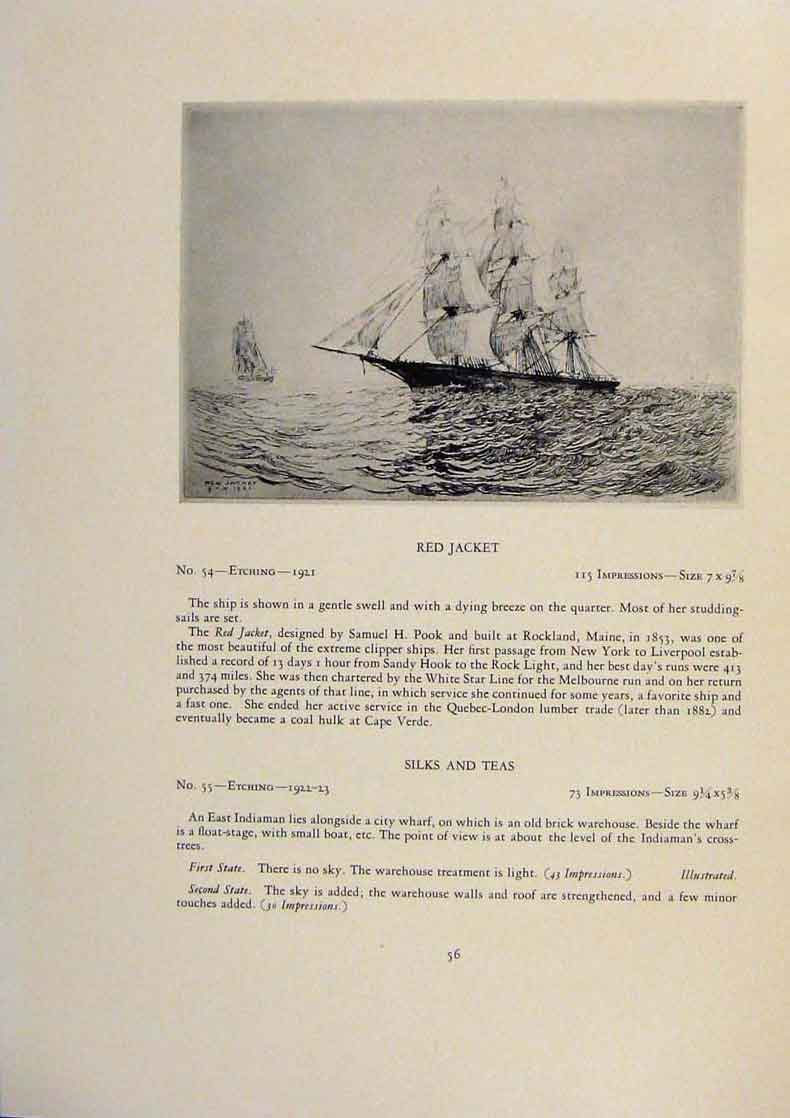 Print American Ships Stunsls Limited Edition Etching 159431 Old Original