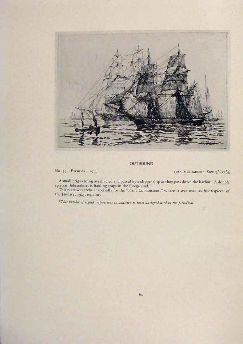 Print American Ships Fore Chains Limited Edition Etching 179431 Old Original