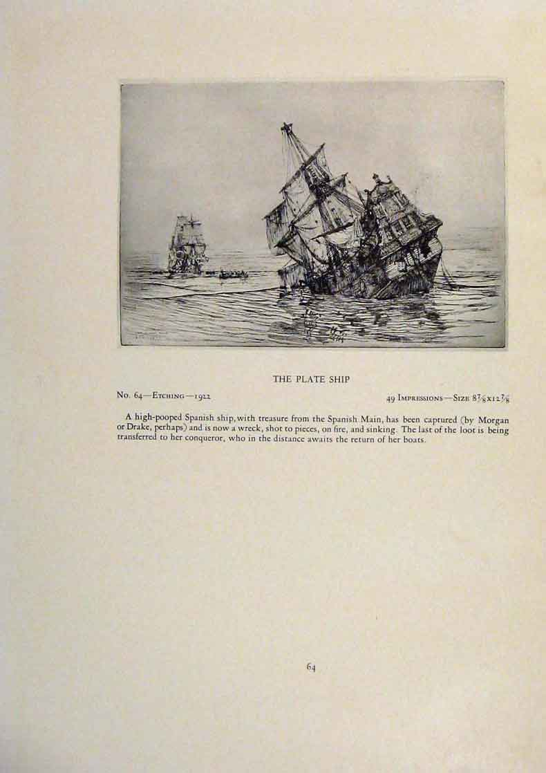 Print American Ships Kinder Thick Sailed Yesterday Plate Ship 189431 Old Original