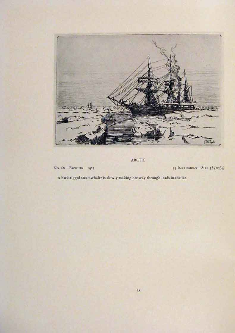 Print American Ships Round Cape Horn The Gam Etching 199431 Old Original