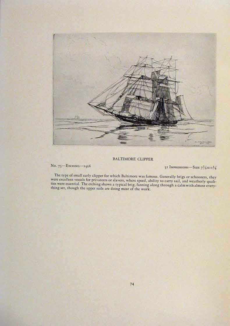 Print American Ships Heave To Nearly Limited Edition Etching 229431 Old Original