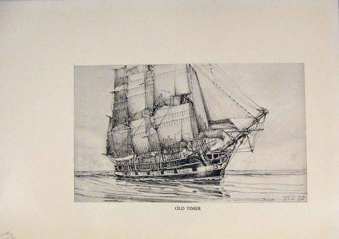 Print American Ships Lihographs Timer Limited Edition 289431 Old Original
