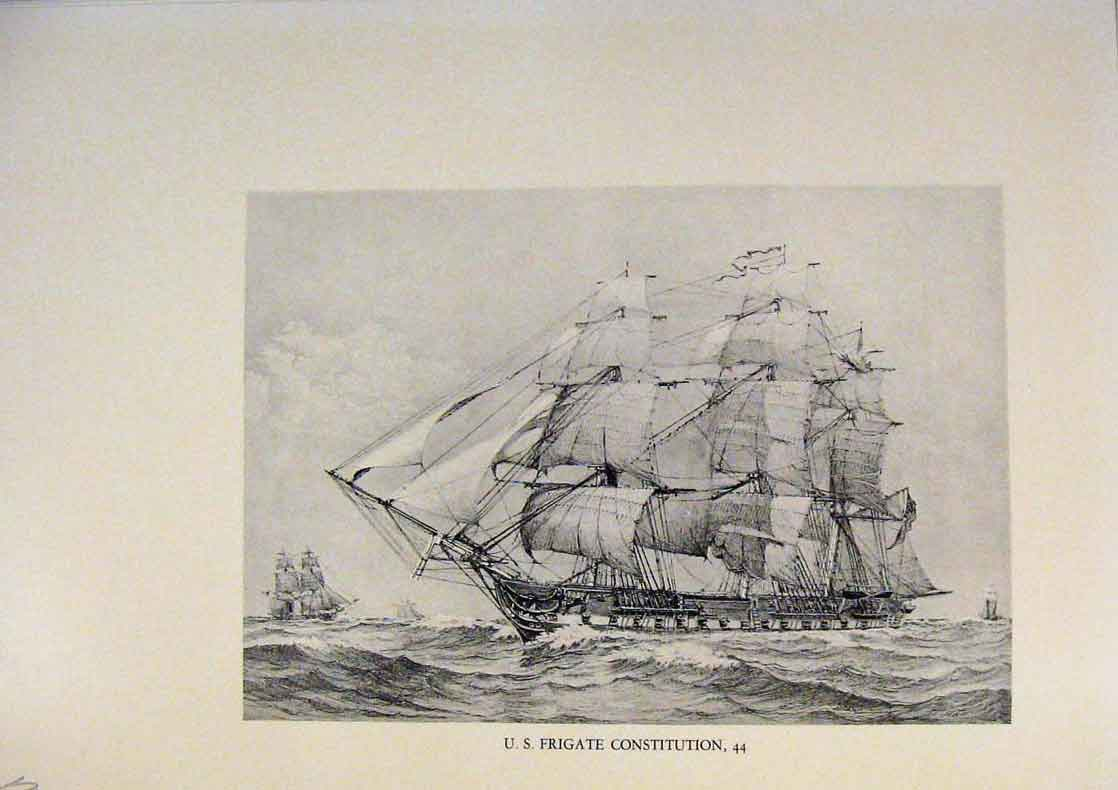 Print American Ships Frigate Constitution Lihographs 299431 Old Original