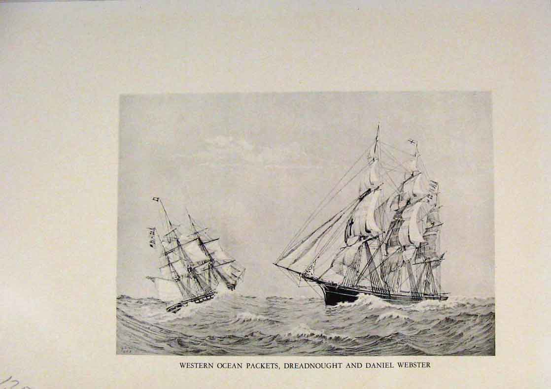 Print American Ships Western Ocean Packets Dreadnought 359431 Old Original
