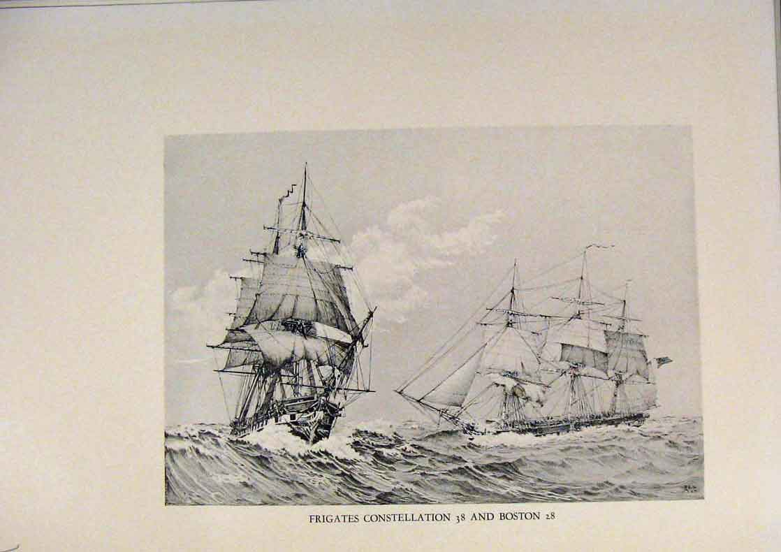 Print American Ships Frigates Constellation And Boston 409431 Old Original