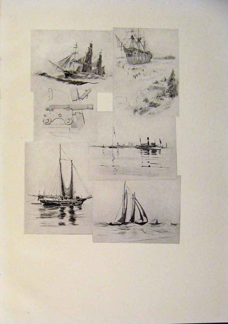 Print American Ships Sketches Fine Art 469431 Old Original