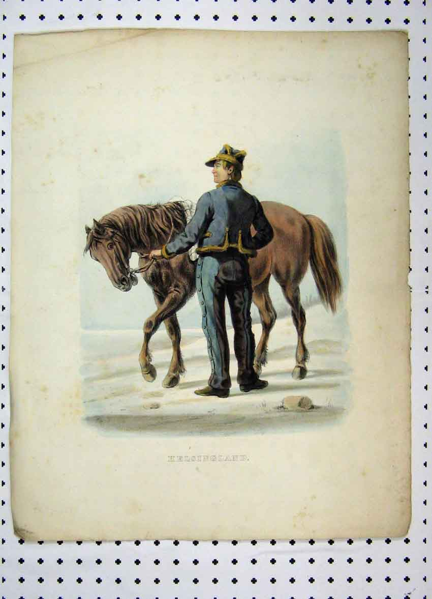 Print Sweden Colour C1870 Costumes Man Brown Horse 107A101 Old Original