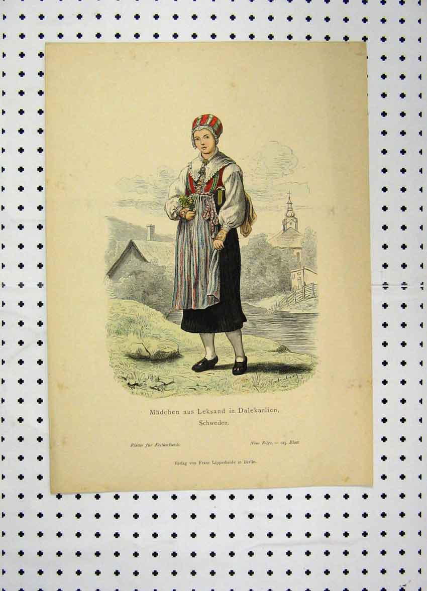 Print C1870 Sweden Costumes Colour Woman Dress Church 126A101 Old Original