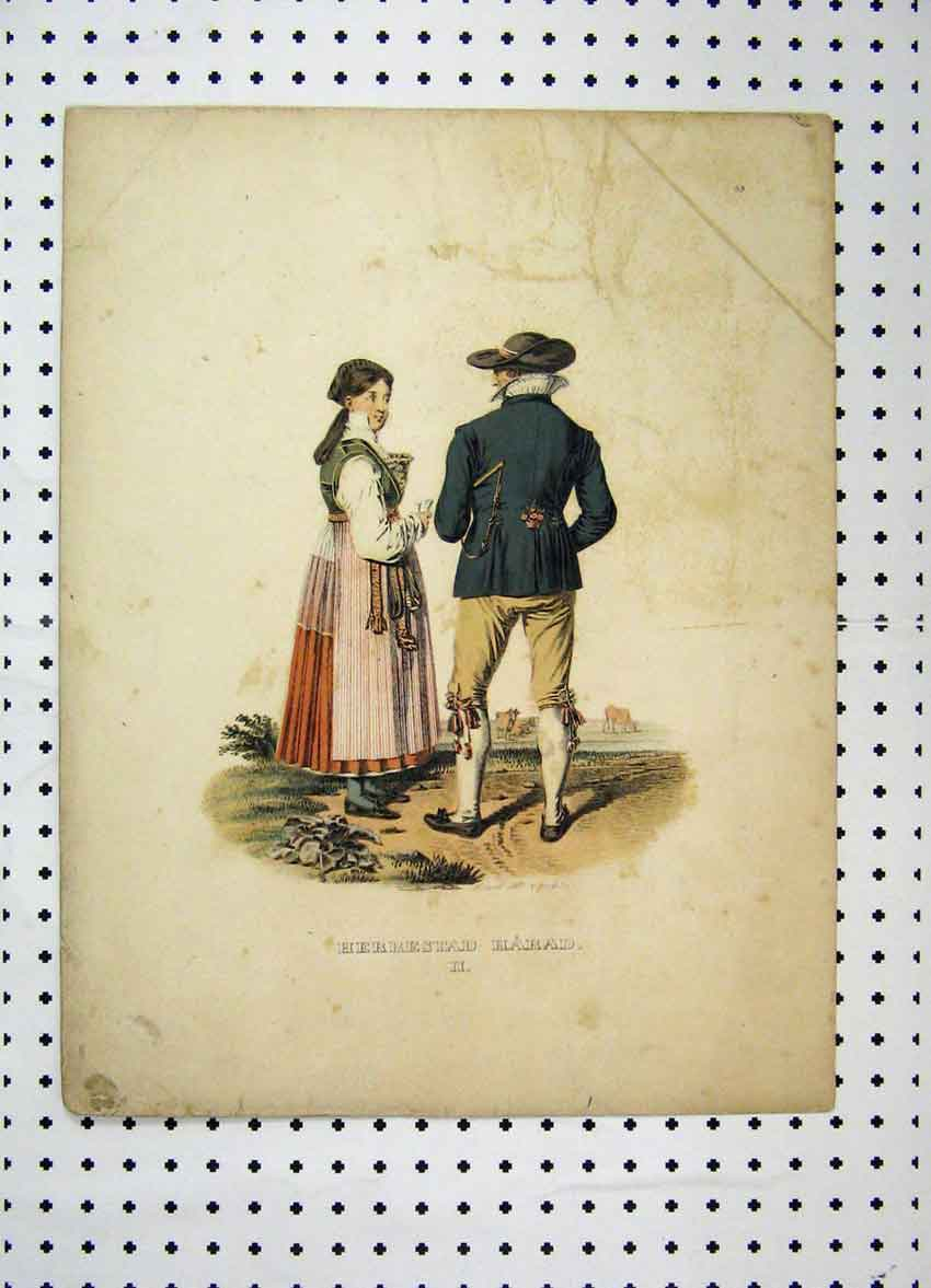 Print C1870 Sweden Costumes Romance Country Colour 132A101 Old Original