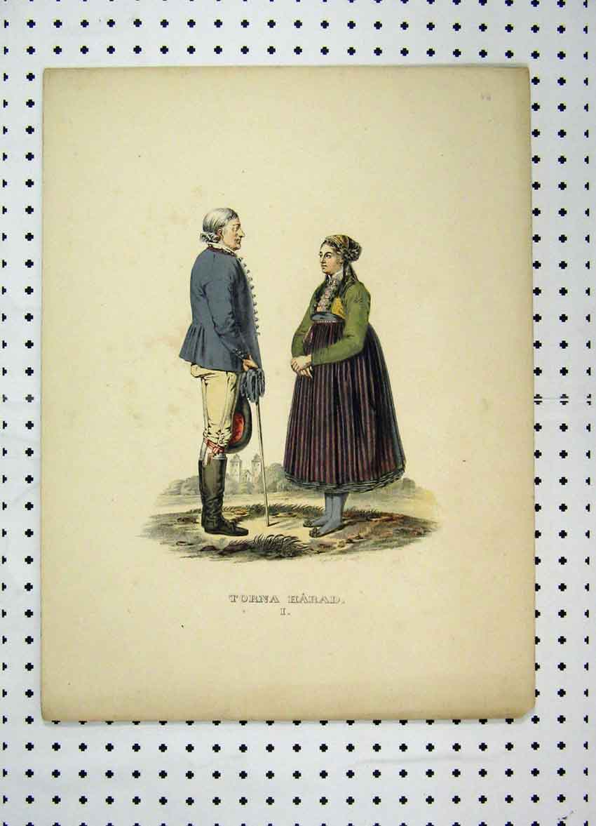 Print Sweden Costumes C1870 Colour Man Woman Romance 136A101 Old Original