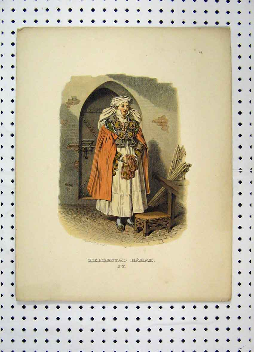 Print C1870 Sweden Costumes Woman Cloak Colour 140A101 Old Original