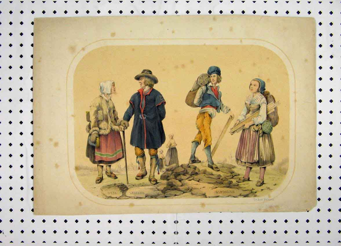Print C1870 Swedish Costumes Colour Hiking Romance 151A101 Old Original