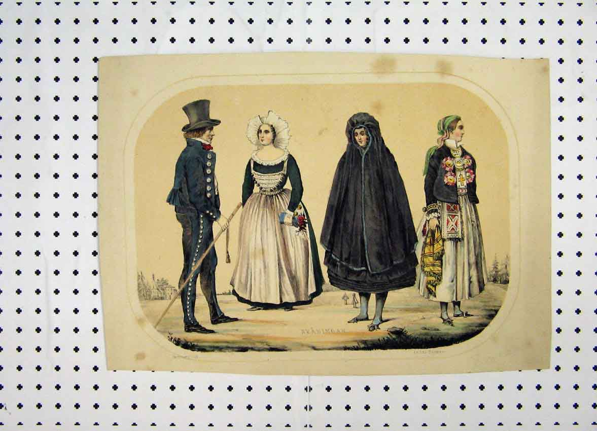 Print Sweden Costumes C1870 Colour Skaningar Cloak Man 152A101 Old Original