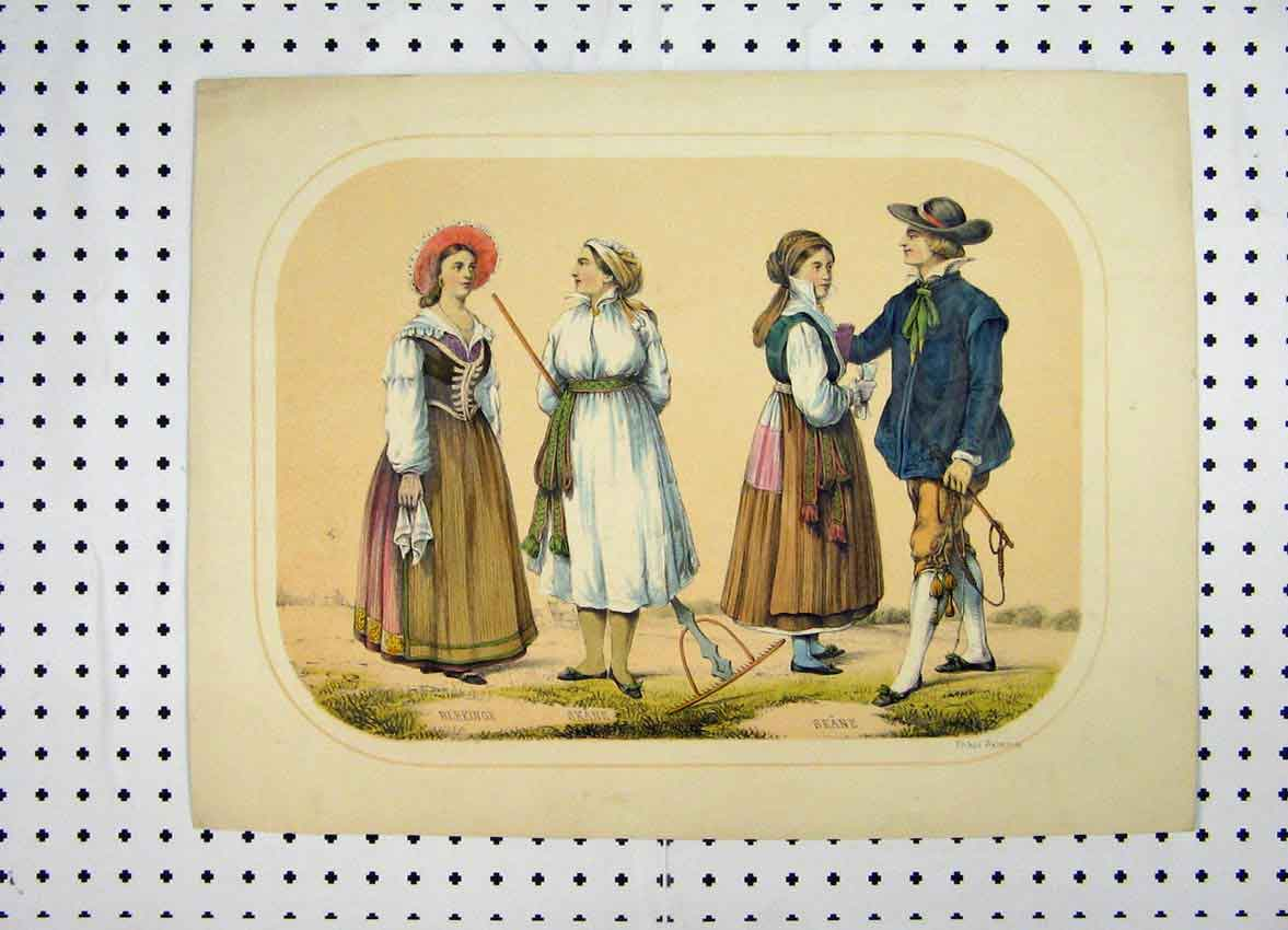 Print Sweden Costumes C1870 Colour Country People Rake 153A101 Old Original