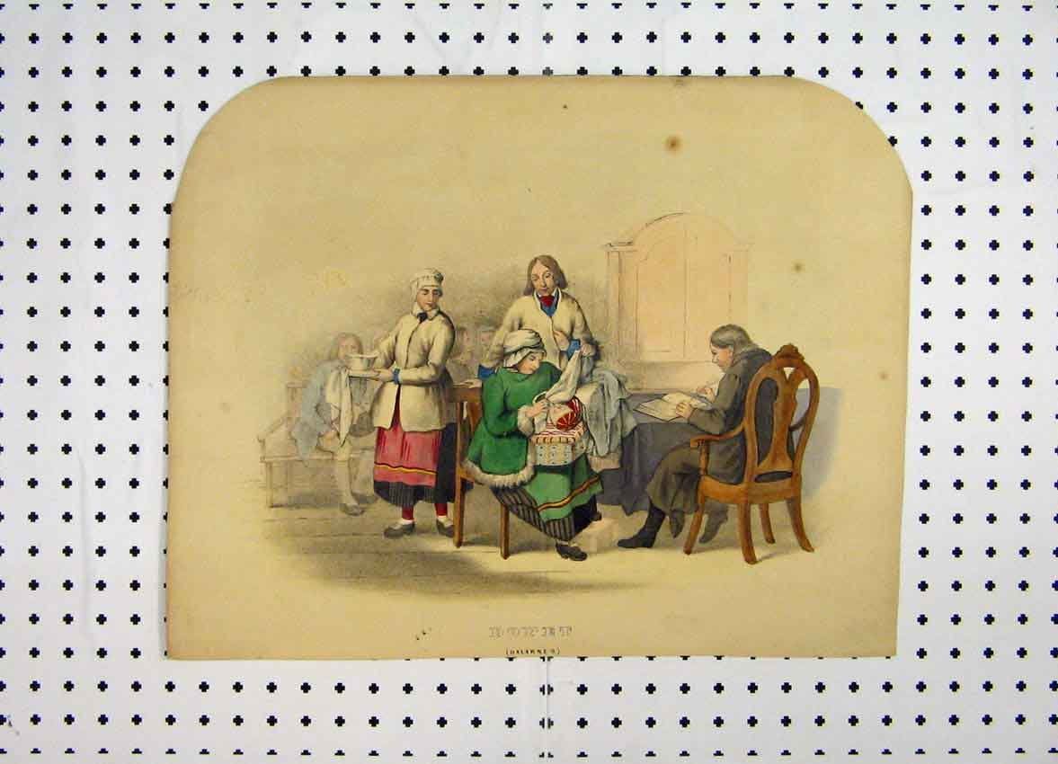 Print C1870 Sweden Costumes Colour Woman Baby Man Book 154A101 Old Original
