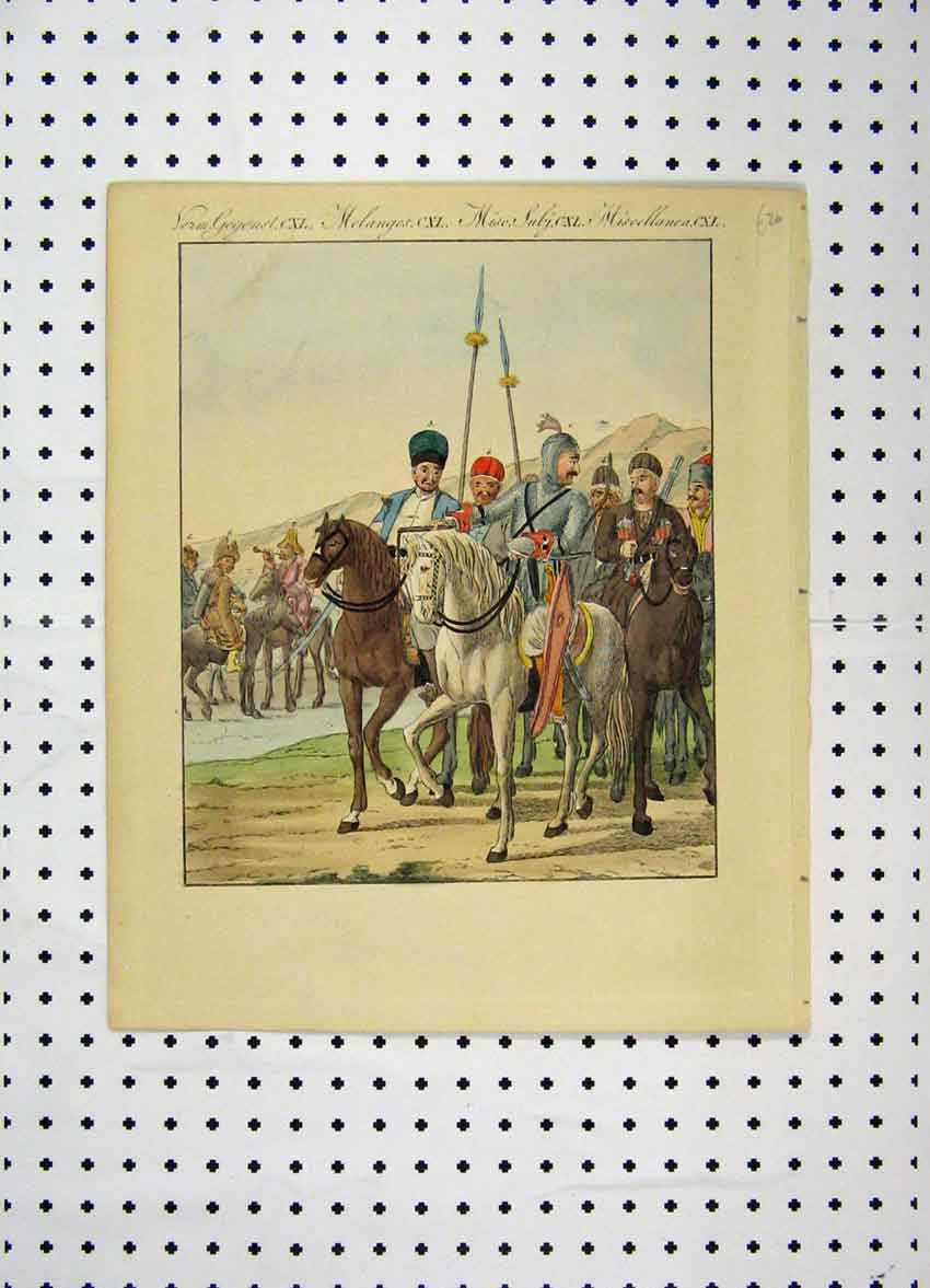 Print C1800 Colour Costumes World Knight Horse Armour 104A102 Old Original