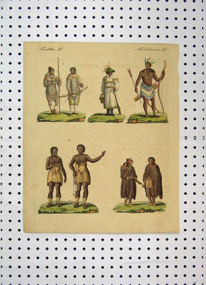 Print C1800 Colour Costumes World Tribes Bow Arrow 117A102 Old Original
