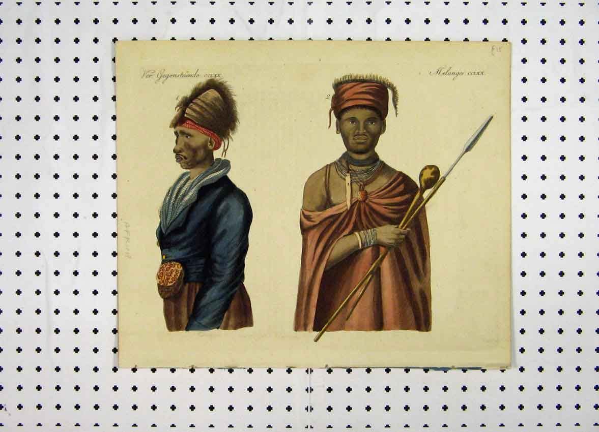 Print C1800 Colour Costumes World African Men Warrior 119A102 Old Original