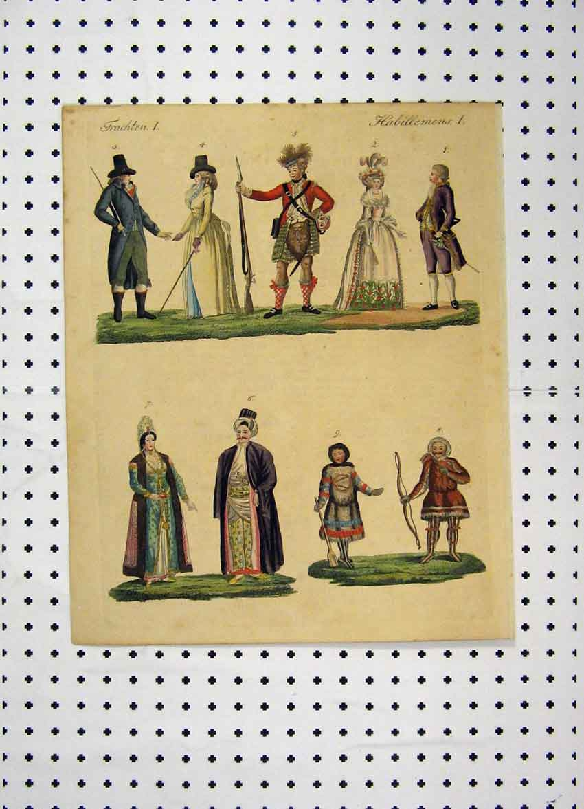 Print Colour C1800 Costumes World Men Women Bow Gun 120A102 Old Original