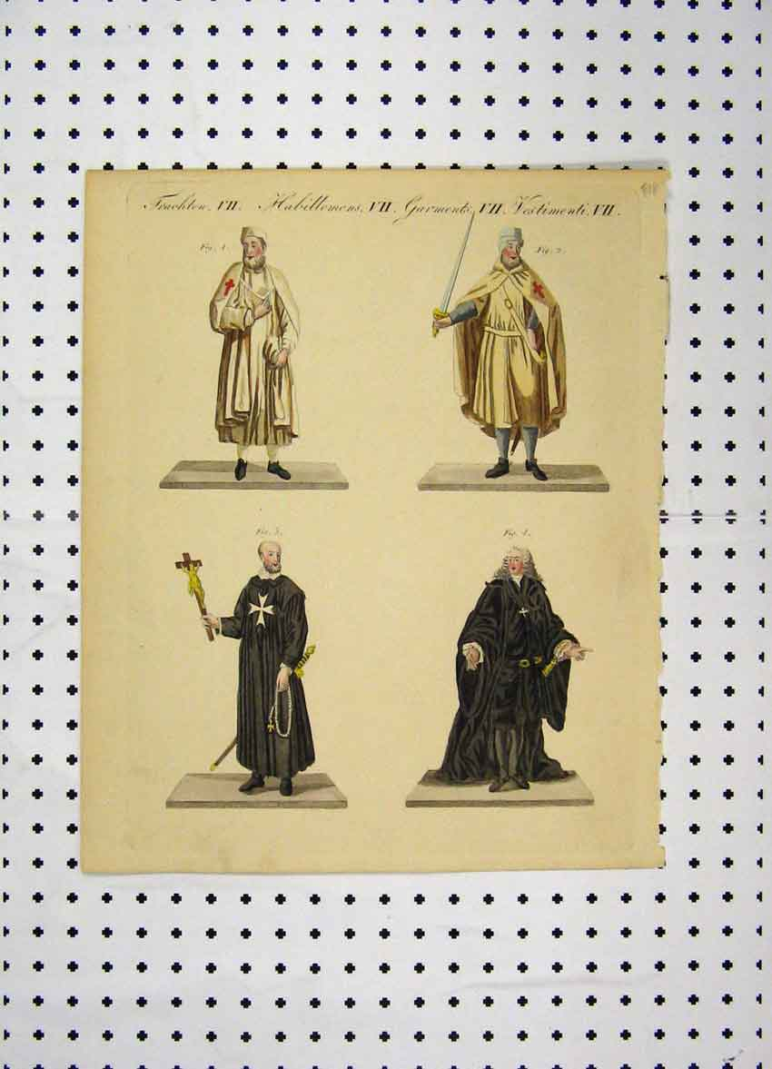 Print C1800 Colour Costumes World Cross Jesus Holy 148A102 Old Original