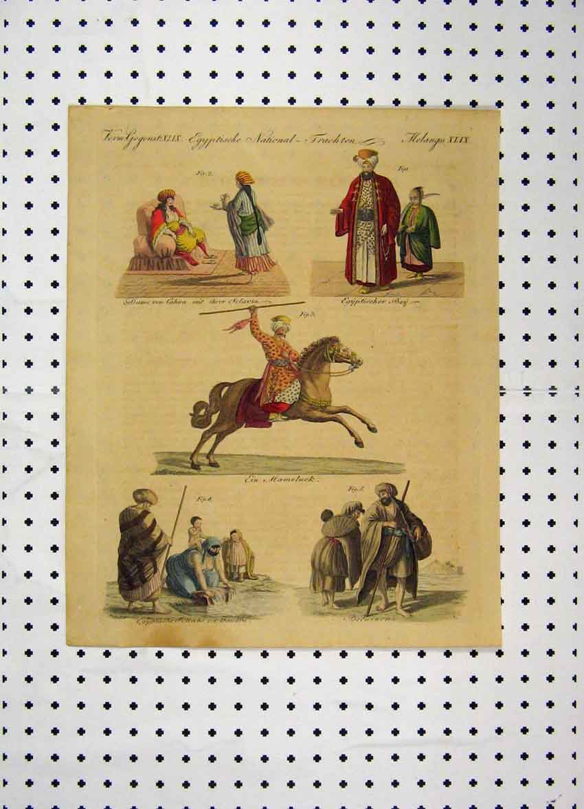 Print C1800 Costumes World Colour Horse Egyptians 157A102 Old Original