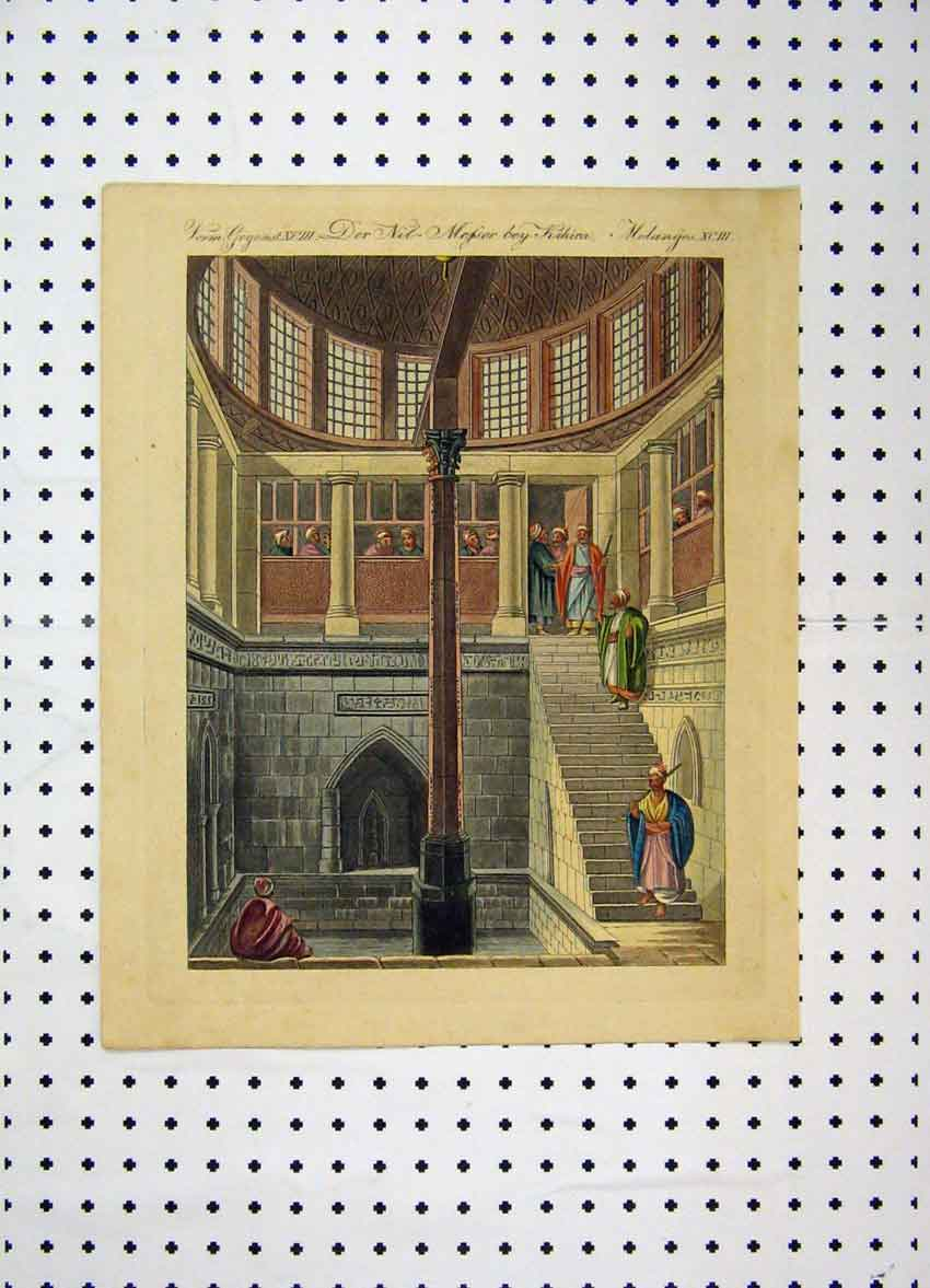 Print C1800 Colour Costumes World Egypt Stairs Pillar 170A102 Old Original