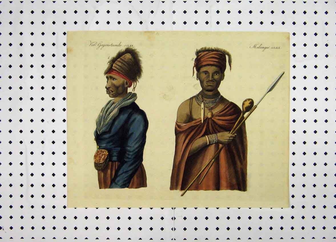 Print C1800 African Tibesmen Colour Costumes World 172A102 Old Original