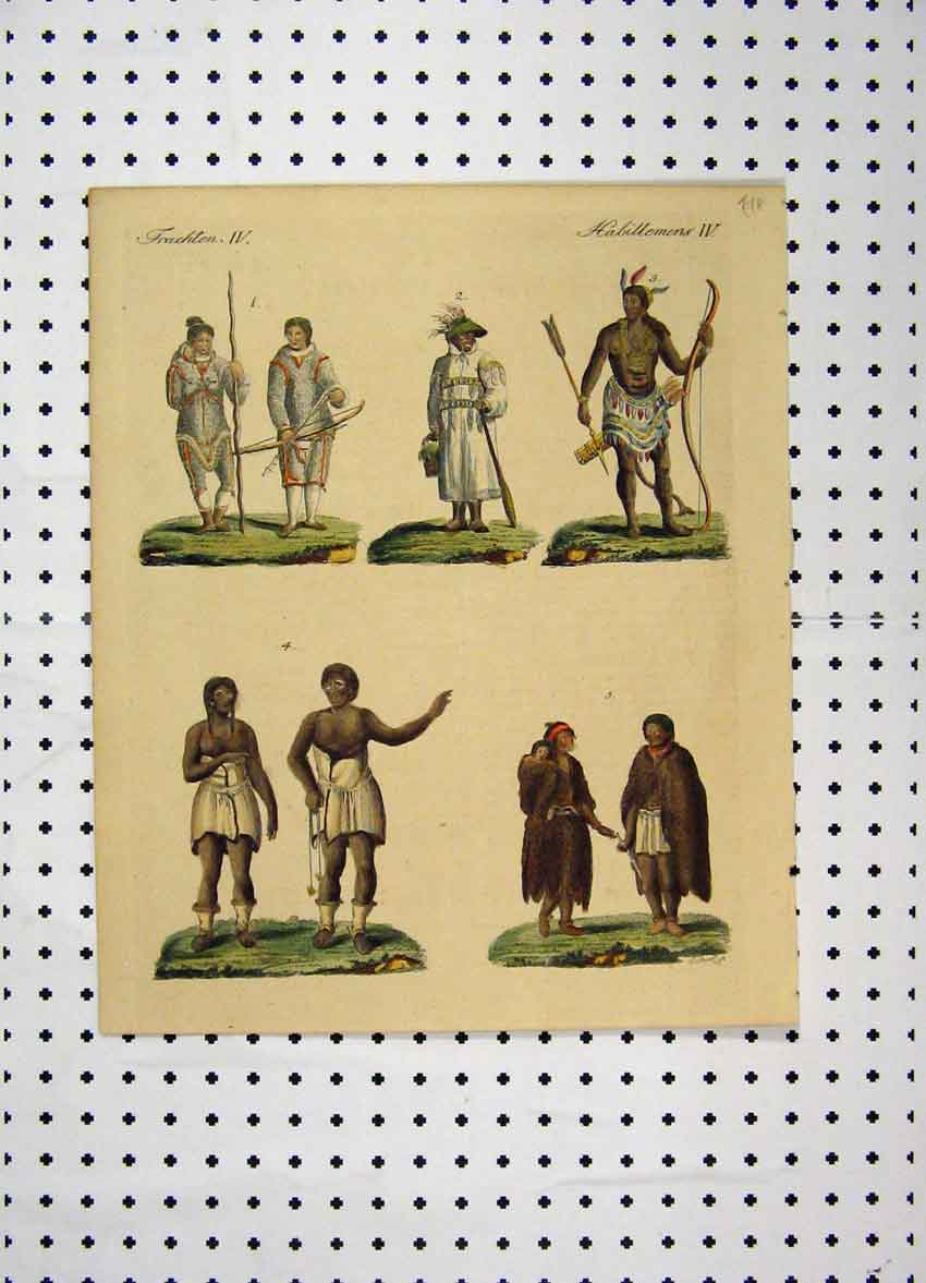 Print C1800 Colour Costumes World Native Tribe Men Baby 173A102 Old Original