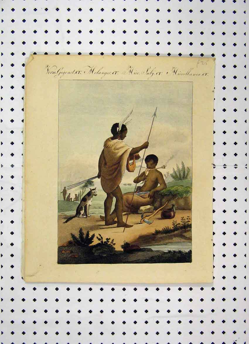 [Print Colour C1800 Costumes World Tribes Dog Axe Spear 176A102 Old Original]