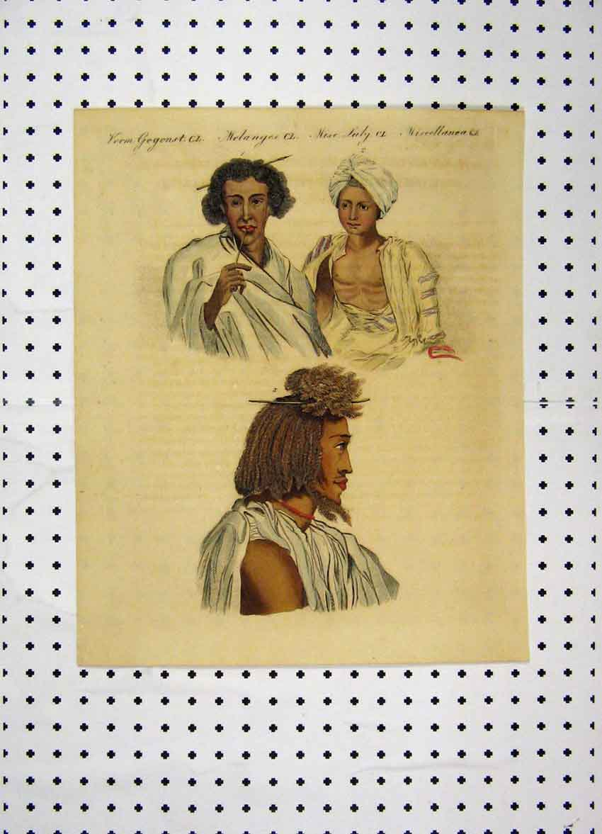 Print C1800 Costumes World Colour Men Tribes Turban 185A102 Old Original