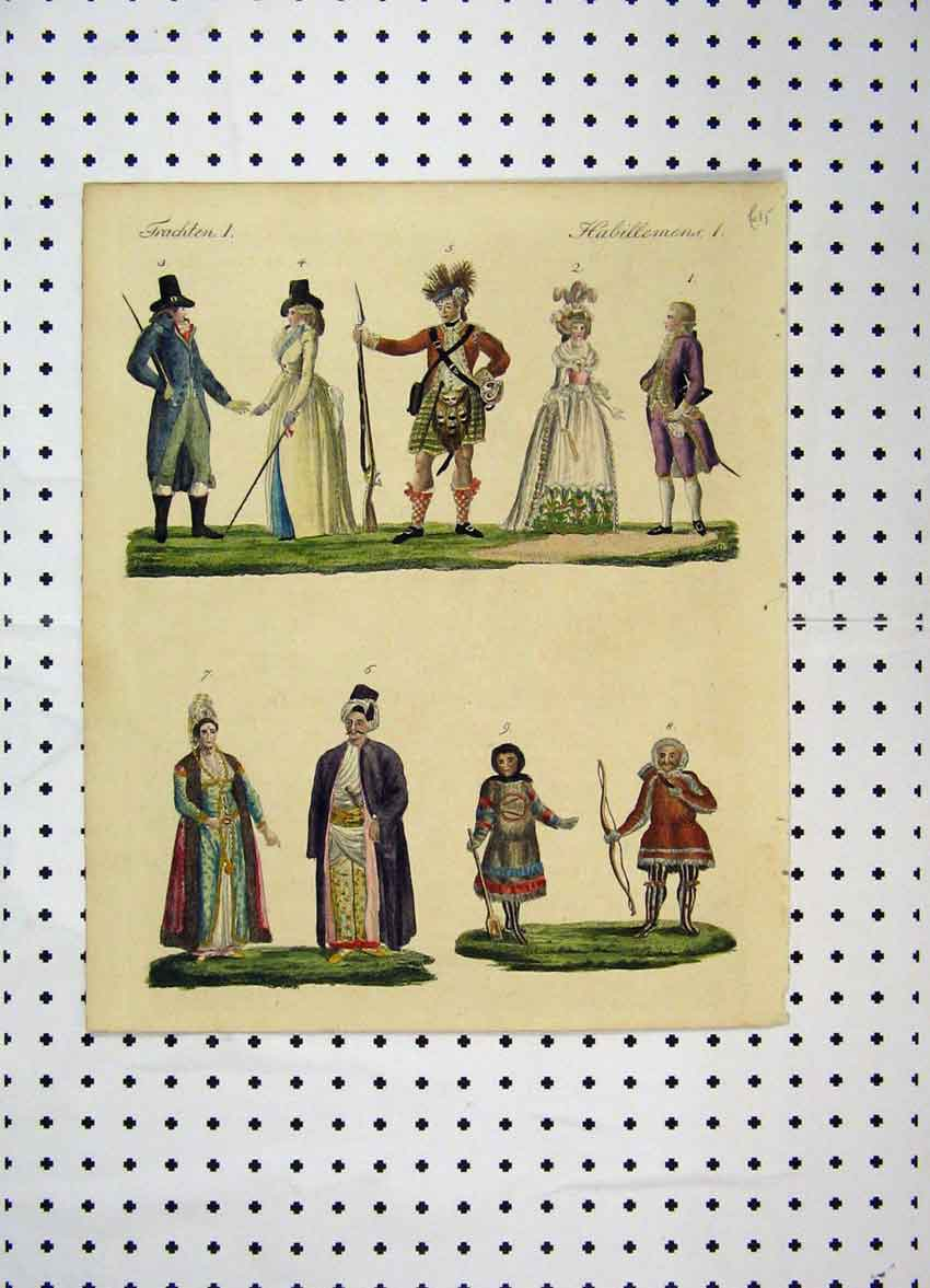 Print C1800 Colour Costume World Gun Bow Arrow Men 187A102 Old Original