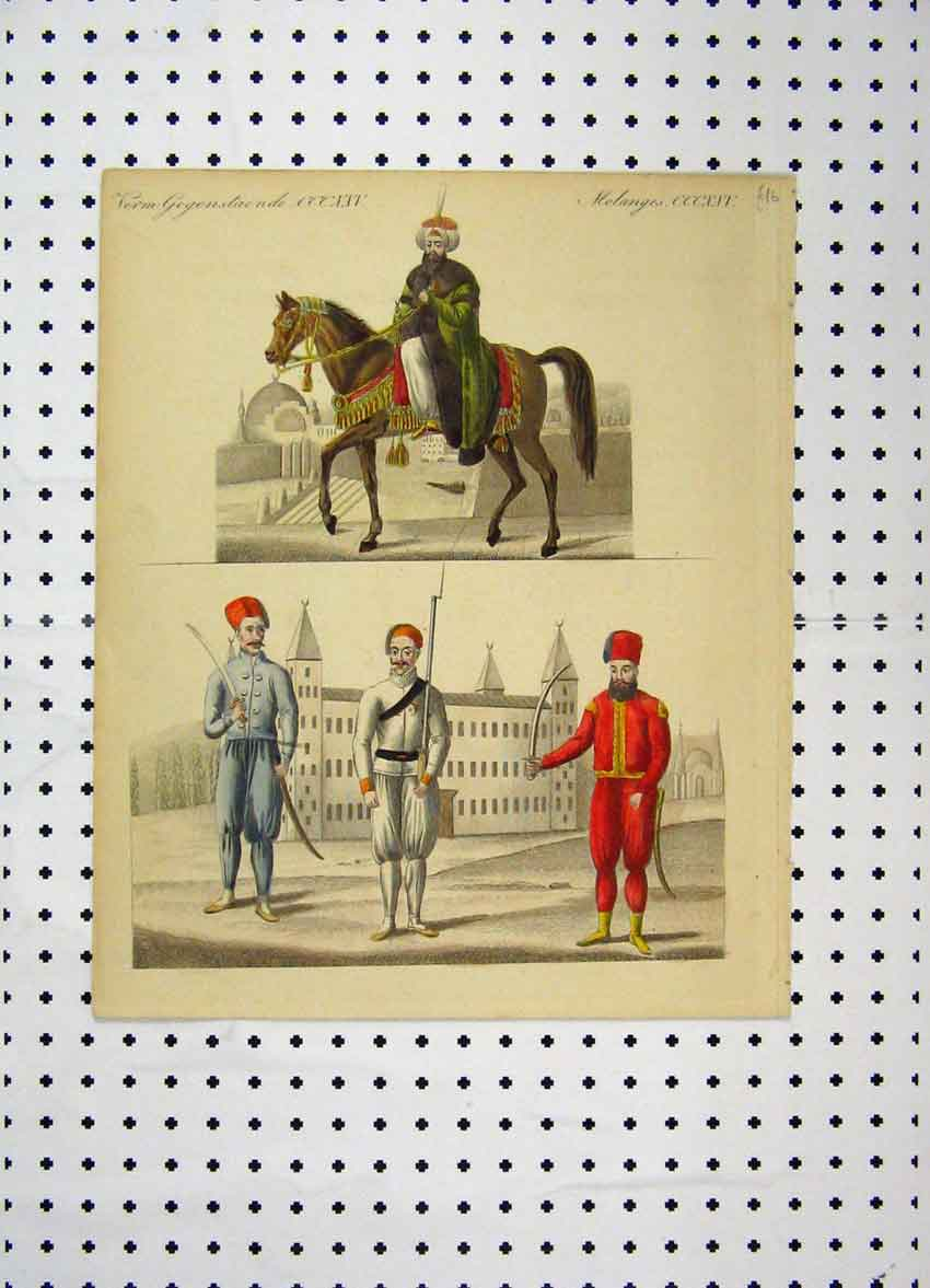 Print C1800 Colour Costumes World Man Horse Swords 189A102 Old Original